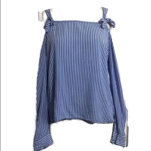 Forever 21 Blue and White Cold Shoulder Top